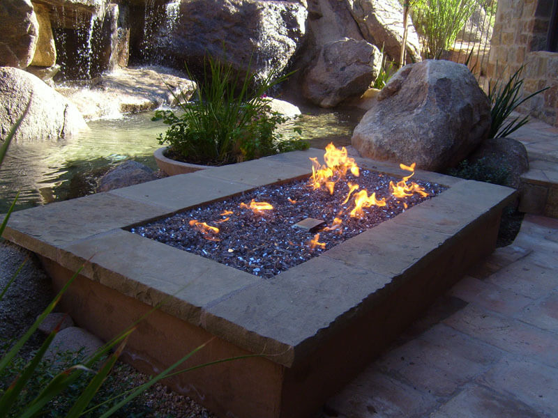 Fire pit outside of the house
