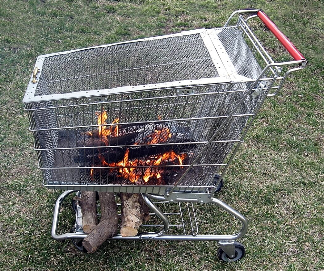 Fire pit from a shopping cart